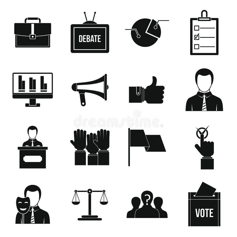 Iconos de votación fijados, estilo simple de la elección ilustración del vector