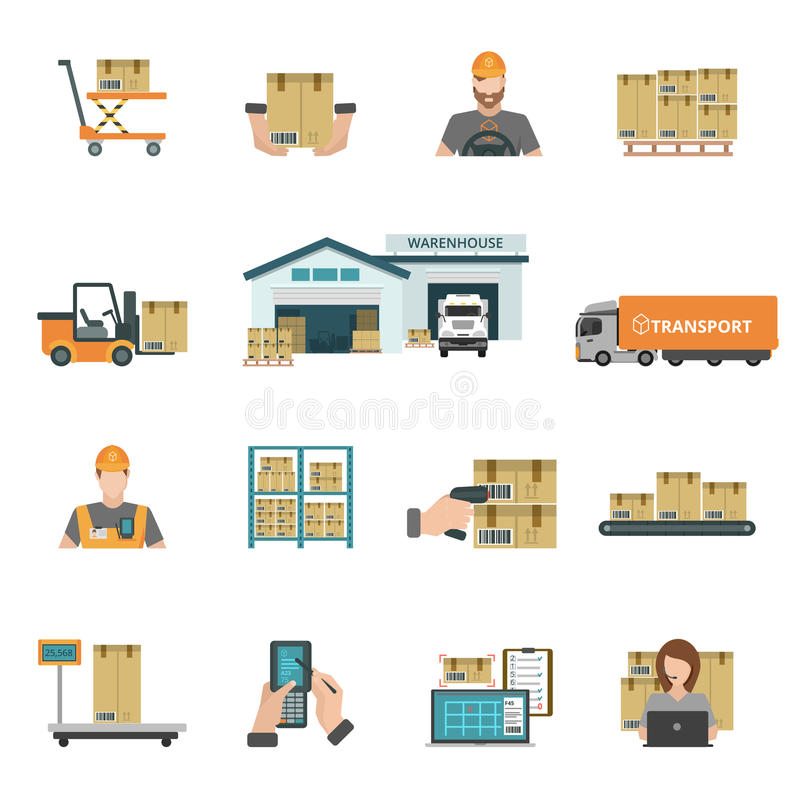 Iconos de Warehouse fijados ilustración del vector
