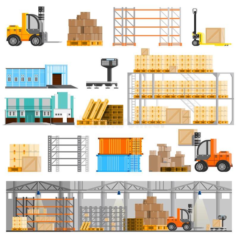 Iconos de Warehouse fijados stock de ilustración