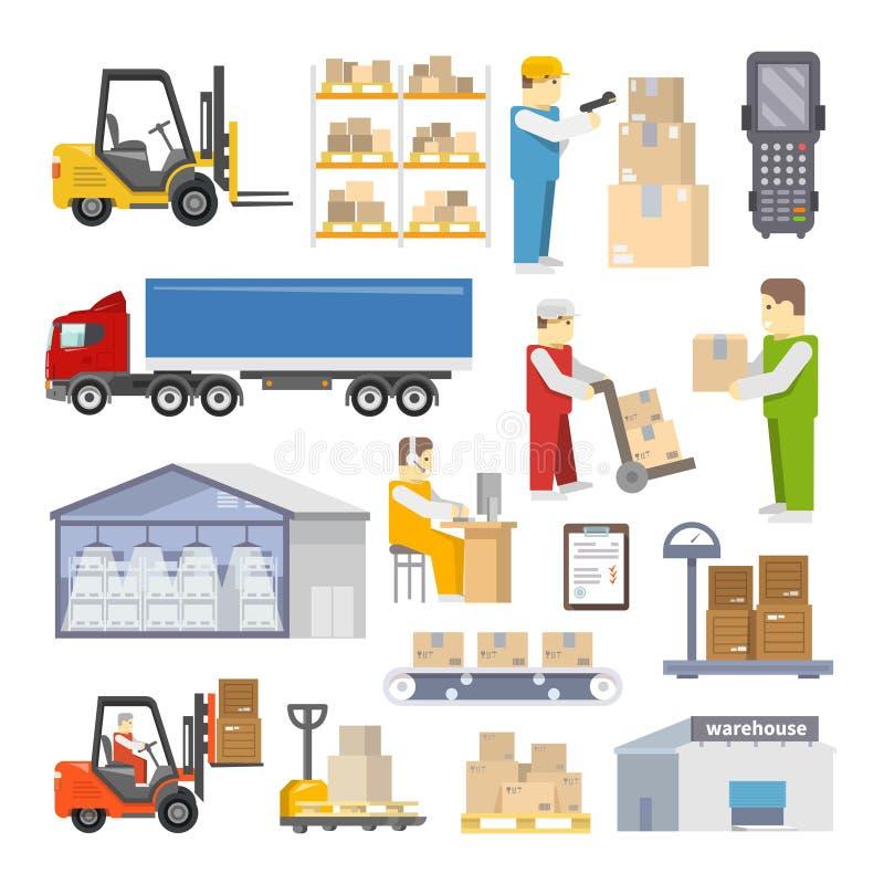 Iconos de Warehouse planos ilustración del vector