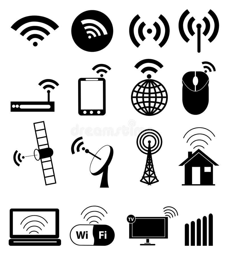 Iconos de Wifi fijados stock de ilustración