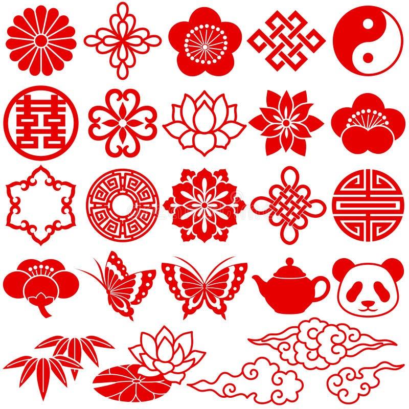 Iconos decorativos chinos stock de ilustración