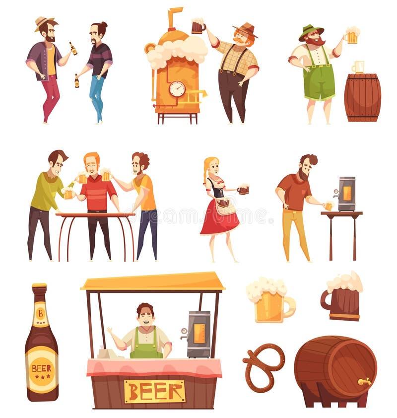 Iconos decorativos de consumición de la cerveza de la gente fijados ilustración del vector