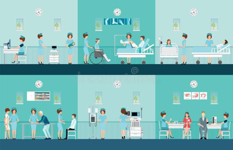 Iconos decorativos de la atención sanitaria de la enfermera fijados con los pacientes ilustración del vector