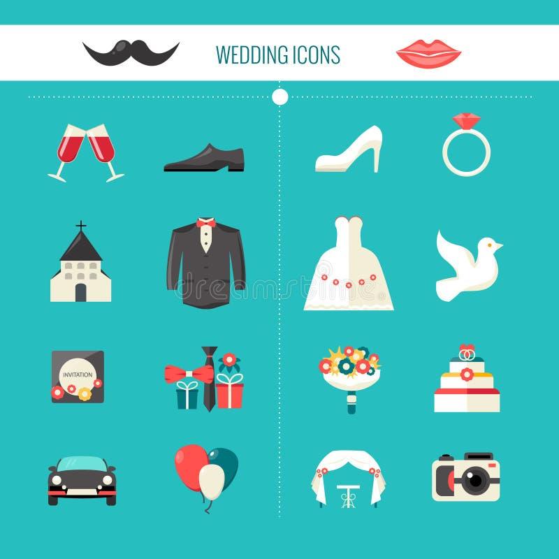 Iconos decorativos de la boda del color stock de ilustración