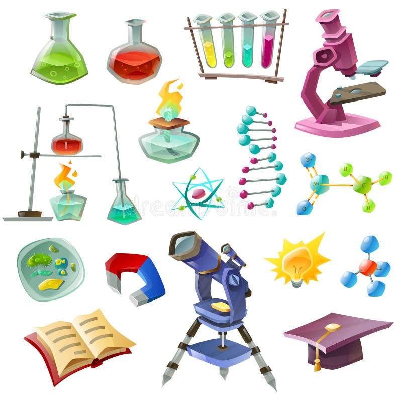 Iconos decorativos de la ciencia fijados stock de ilustración