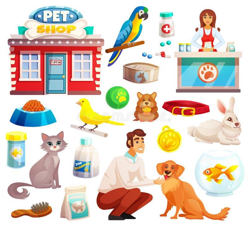 Iconos decorativos de la tienda de animales fijados stock de ilustración