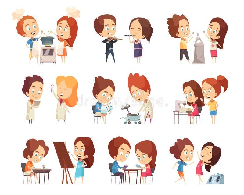 Iconos decorativos de las clases de los niños fijados libre illustration
