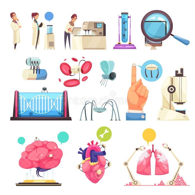 Iconos decorativos de las nanotecnologías fijados libre illustration