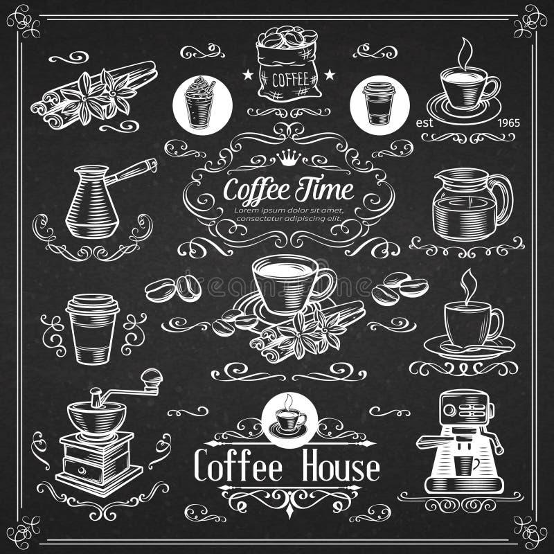 Iconos decorativos del café del vintage stock de ilustración