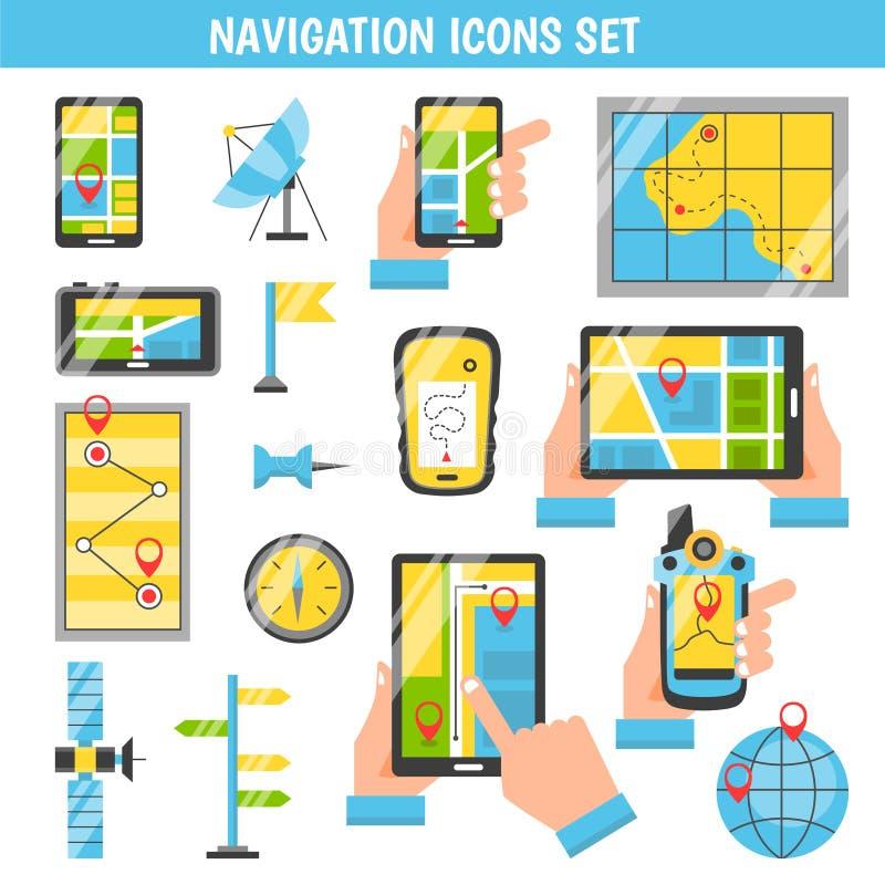 Iconos decorativos del color plano de la navegación ilustración del vector