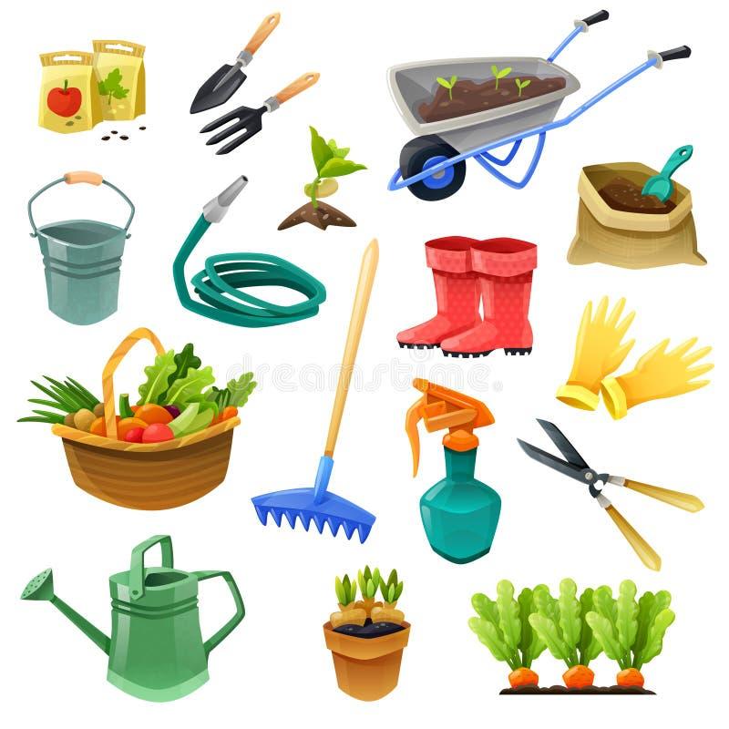 Iconos decorativos del color que cultivan un huerto ilustración del vector