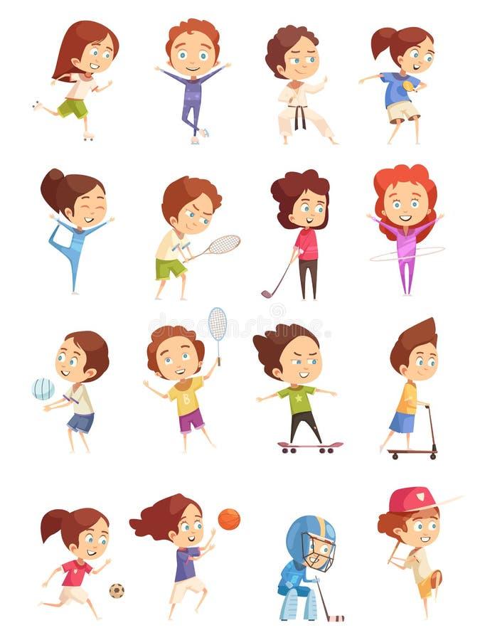Iconos decorativos del deporte de los niños fijados ilustración del vector