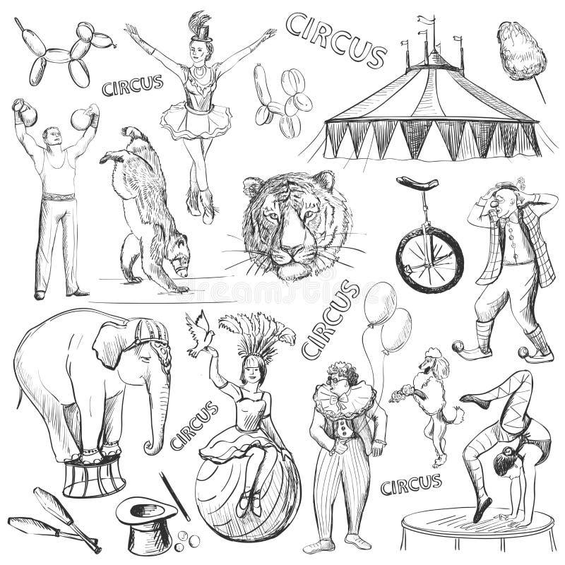 Iconos decorativos del funcionamiento del circo fijados stock de ilustración