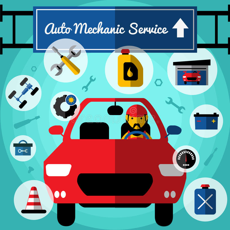 Iconos decorativos del servicio mecánico auto fijados ilustración del vector