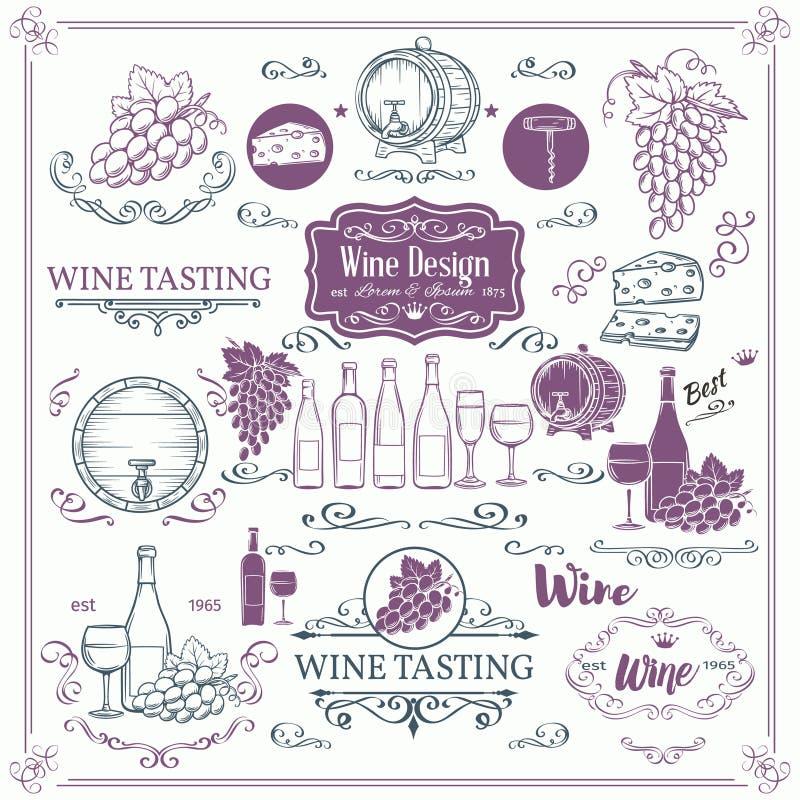 Iconos decorativos del vino del vintage ilustración del vector