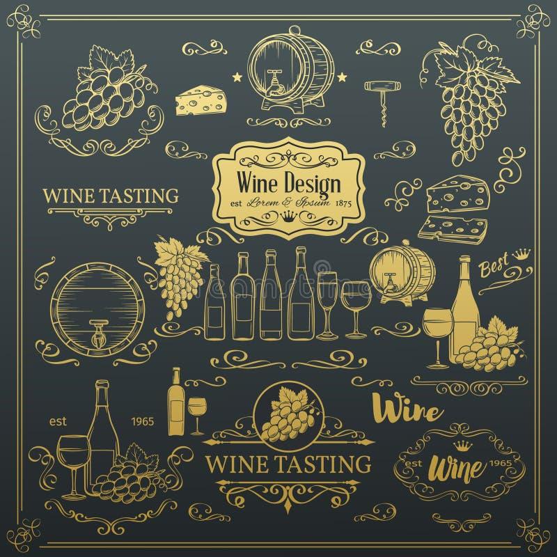 Iconos decorativos del vino del vintage stock de ilustración