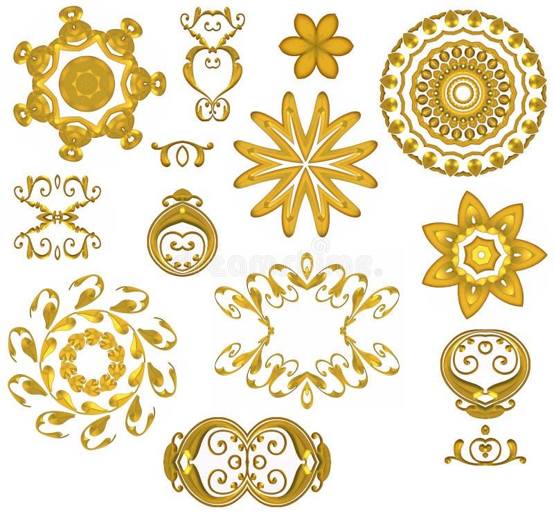 Iconos decorativos del Web del oro ilustración del vector