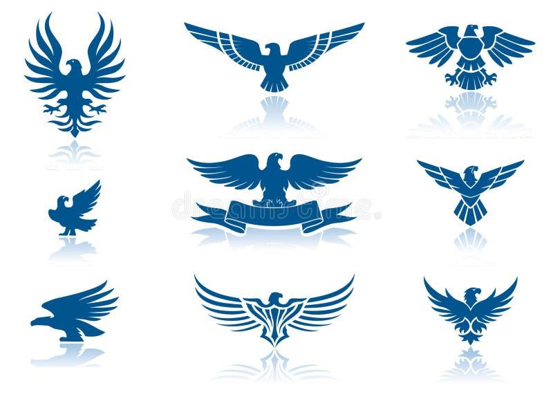 Iconos del águila stock de ilustración