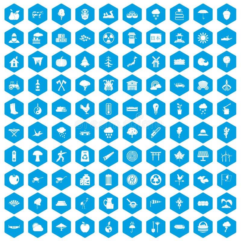 100 iconos del árbol fijados azules stock de ilustración