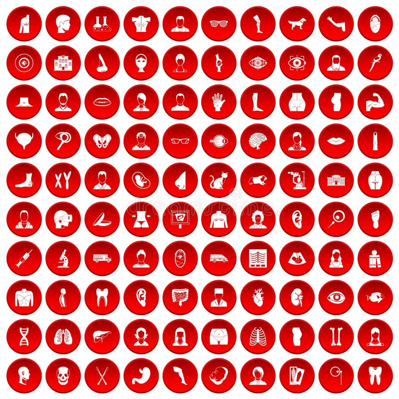 100 iconos del órgano fijados rojos stock de ilustración