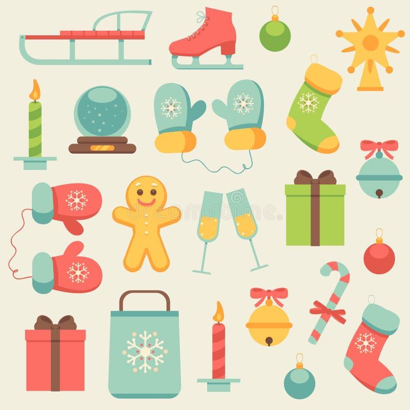 Iconos del Año Nuevo fijados libre illustration