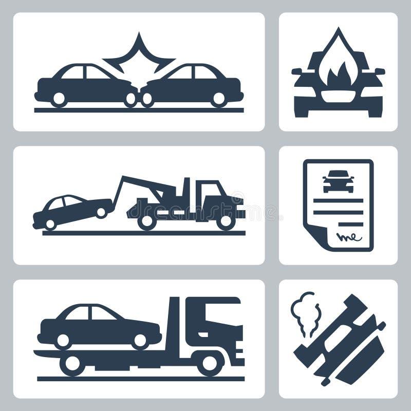 Iconos del accidente de tráfico del vector fijados ilustración del vector