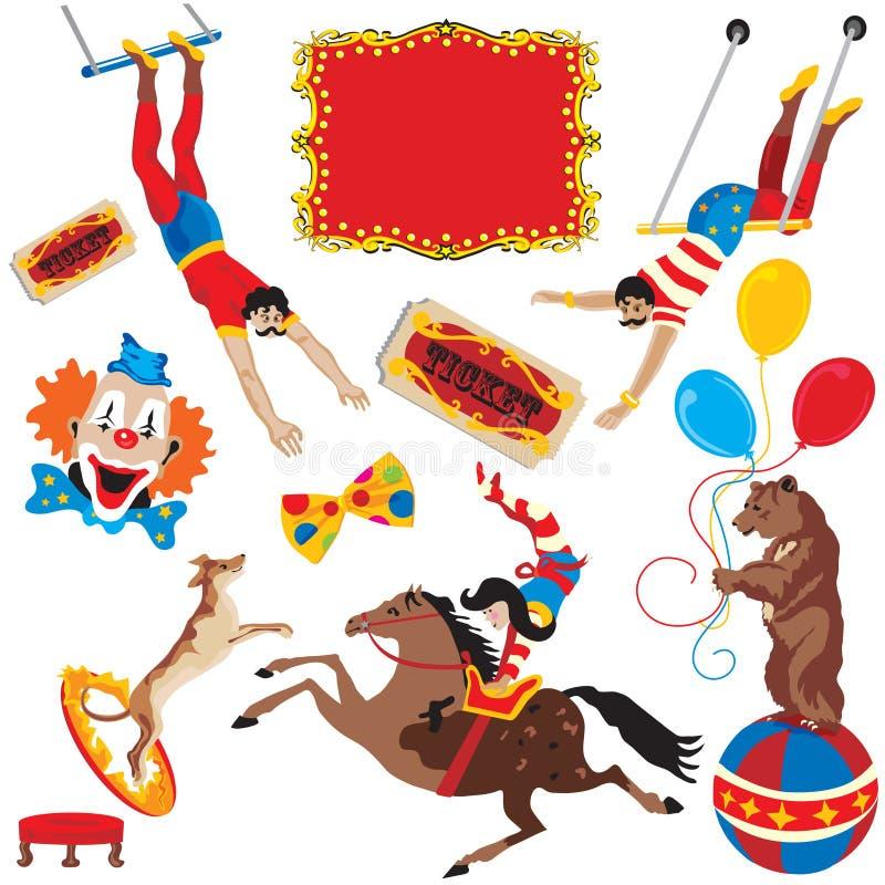 Iconos del acto de circo stock de ilustración