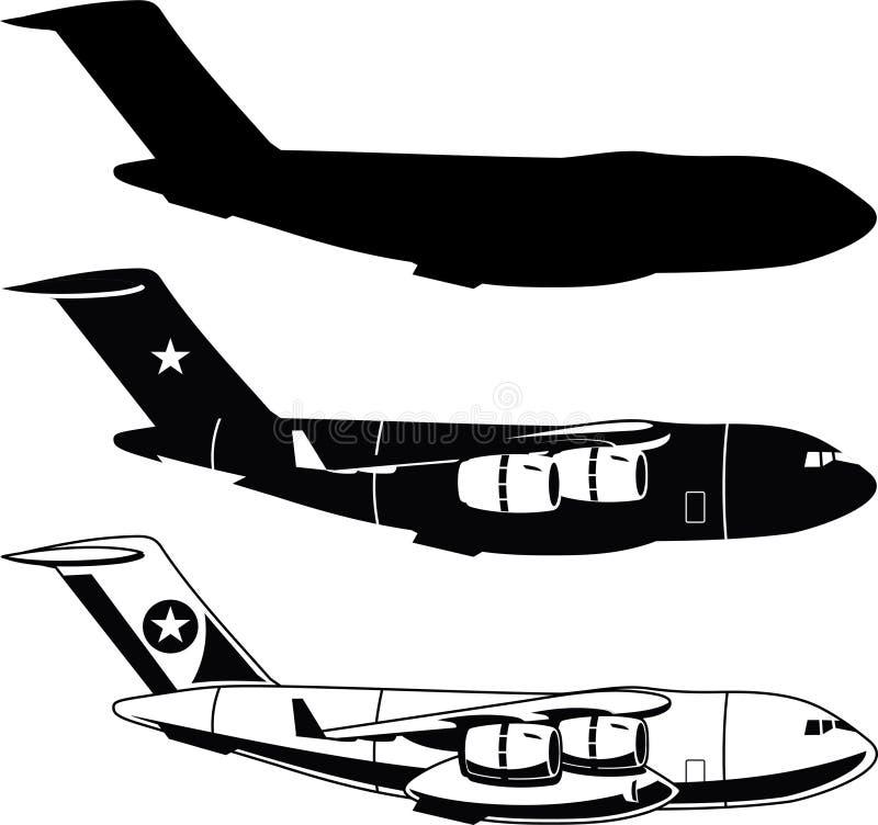 Iconos del aeroplano del cargo de la guerra ilustración del vector