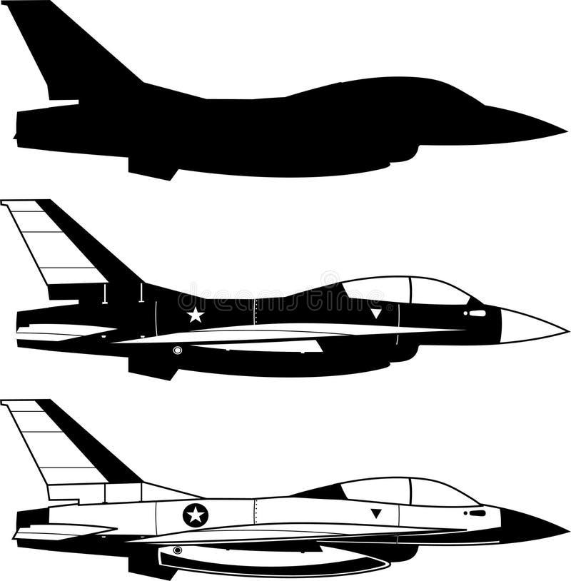 Iconos del aeroplano del combate ilustración del vector
