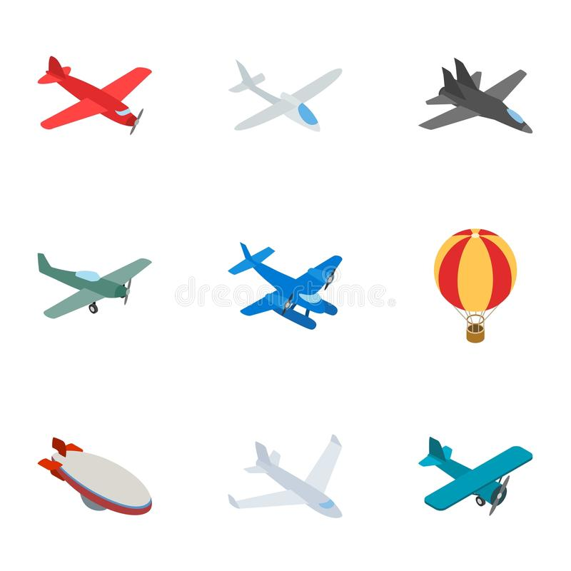 Iconos del aeroplano, estilo isométrico 3d ilustración del vector