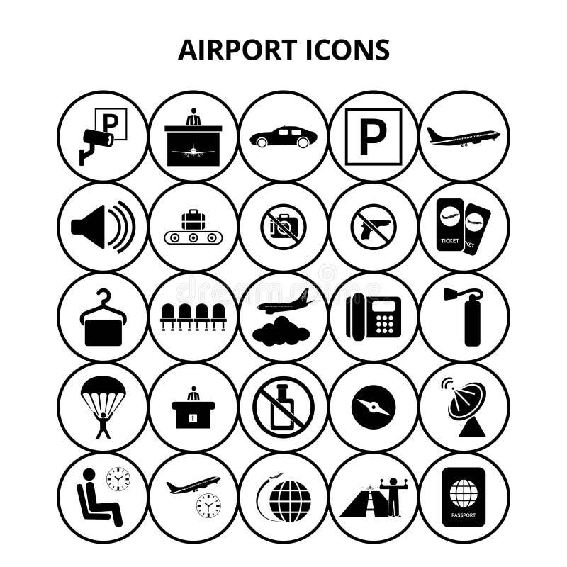 Iconos del aeropuerto stock de ilustración