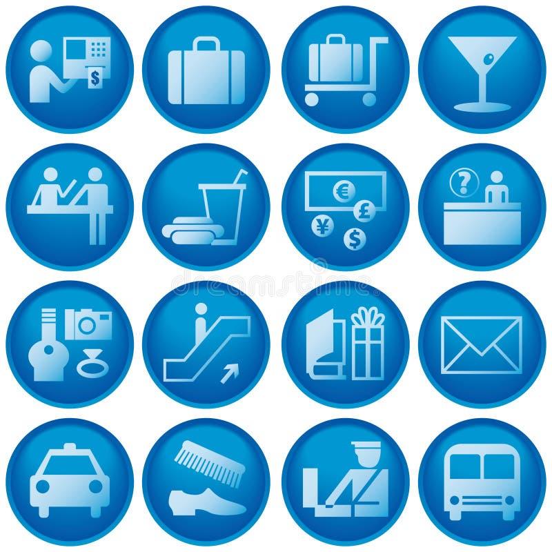 Iconos del aeropuerto/del recorrido stock de ilustración