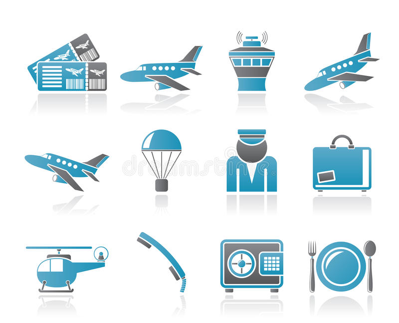 Iconos del aeropuerto y del recorrido stock de ilustración