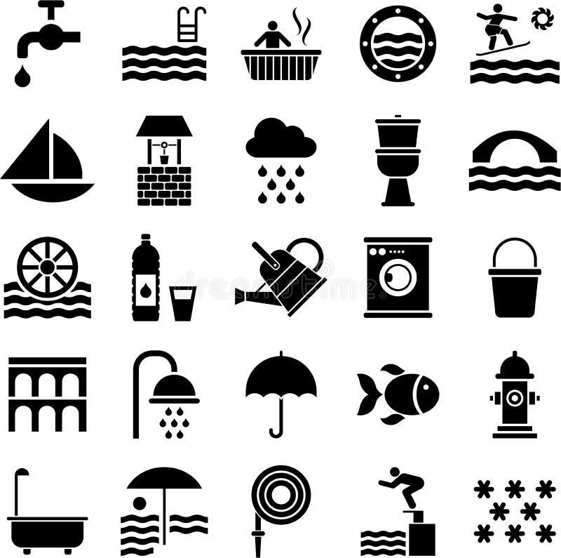Iconos del agua ilustración del vector