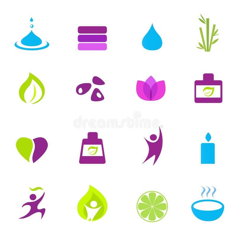 Iconos del agua, de la salud, de la naturaleza y del zen - color de rosa stock de ilustración