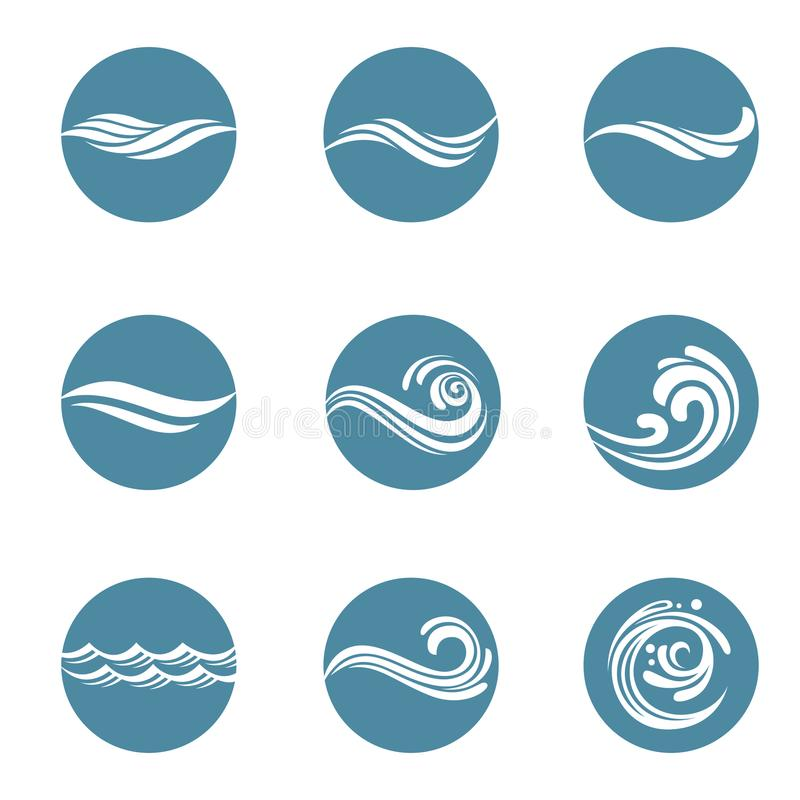 Iconos del agua fijados stock de ilustración