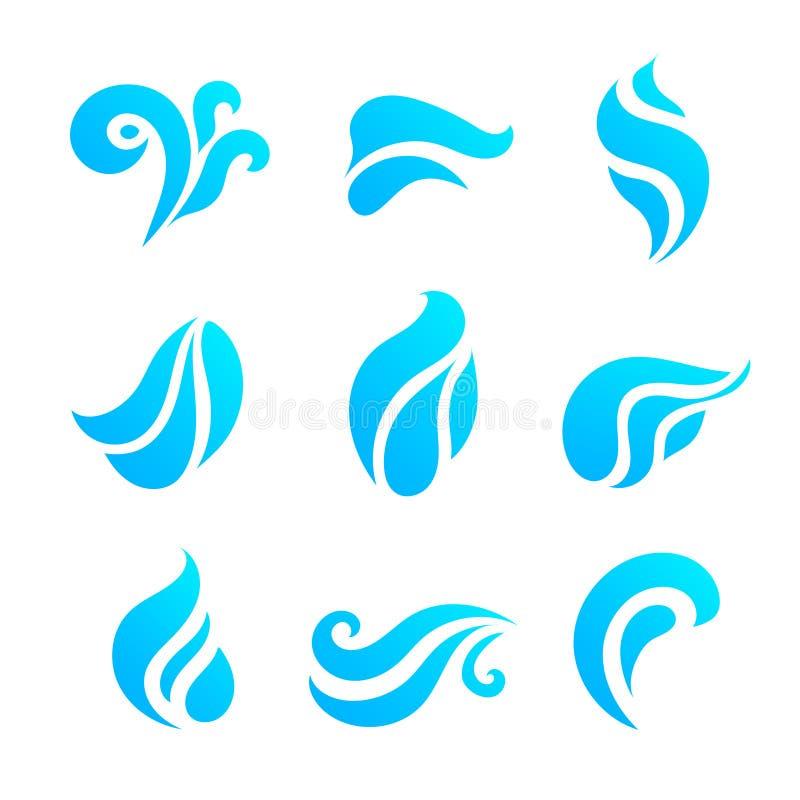 Iconos del agua y del descenso fijados stock de ilustración