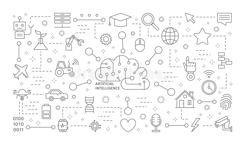 Iconos del AI fijados libre illustration
