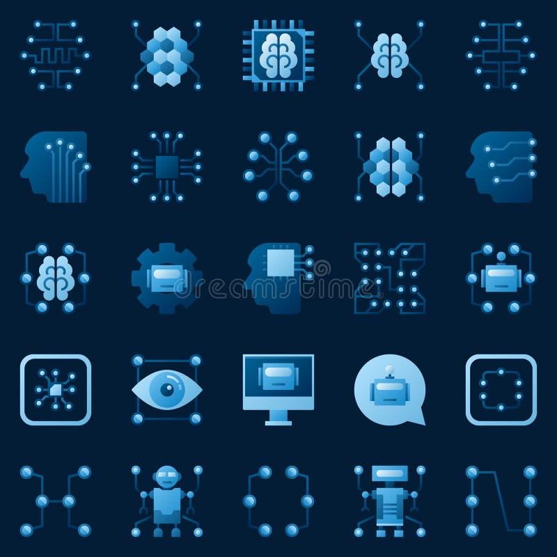Iconos del AI fijados Elementos del logotipo de la inteligencia artificial del vector ilustración del vector