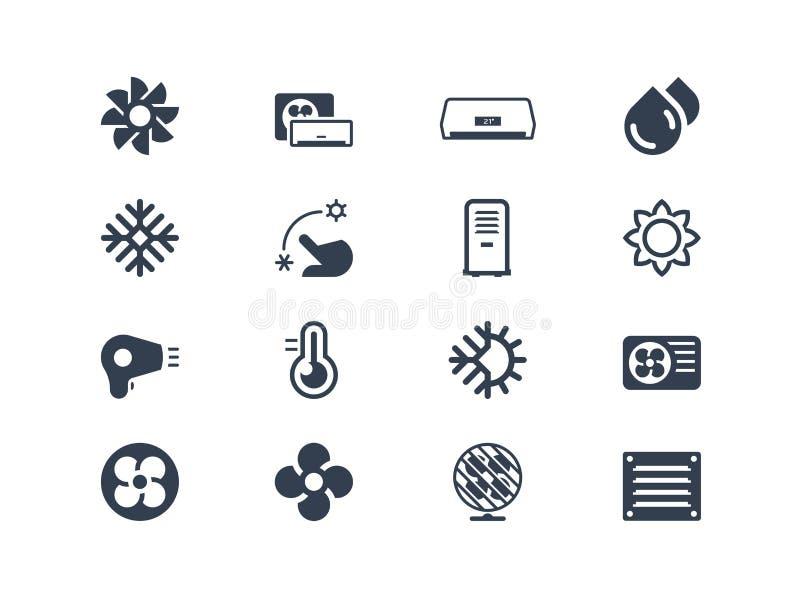 Iconos del aire acondicionado ilustración del vector