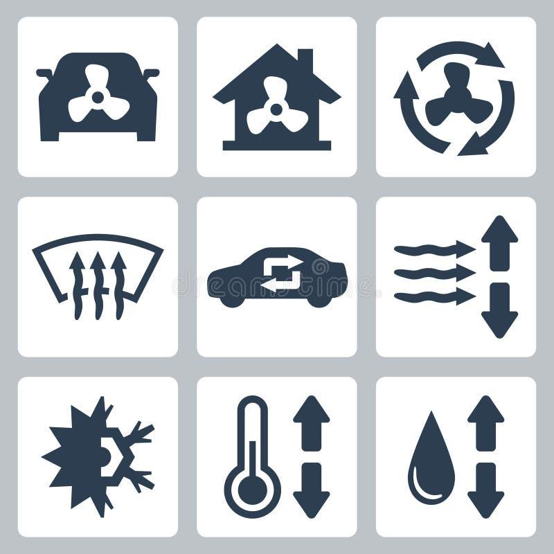 Iconos del aire acondicionado del vector ilustración del vector