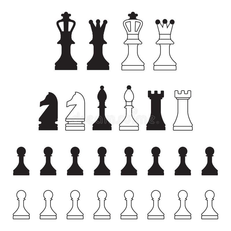Iconos del ajedrez ilustración del vector