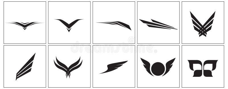 Iconos del ala ilustración del vector