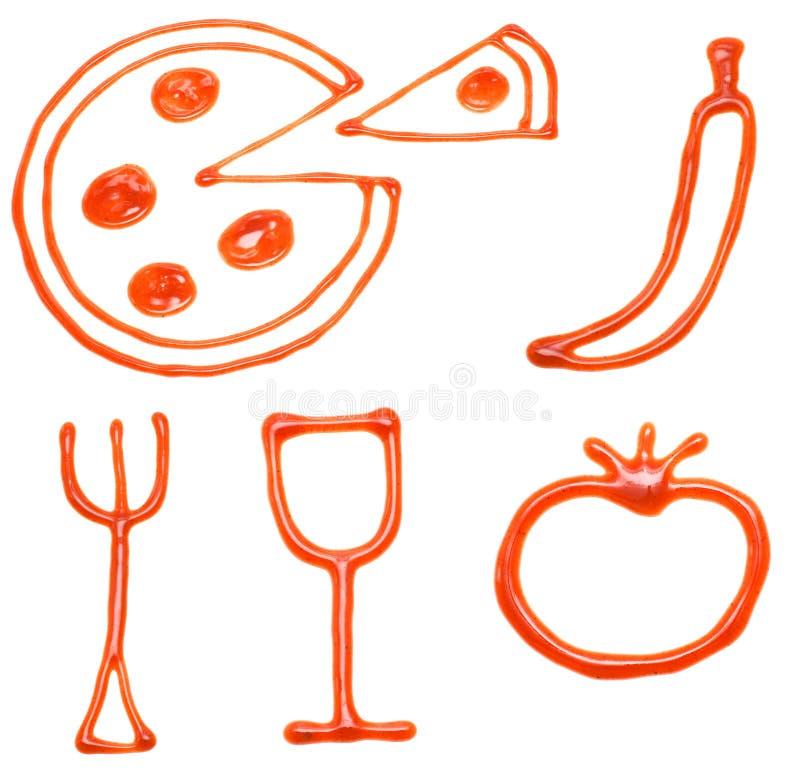 Iconos del alimento de la salsa de tomate fotografía de archivo libre de regalías