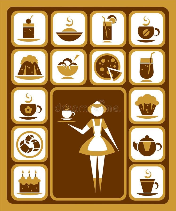 Iconos del alimento fijados stock de ilustración