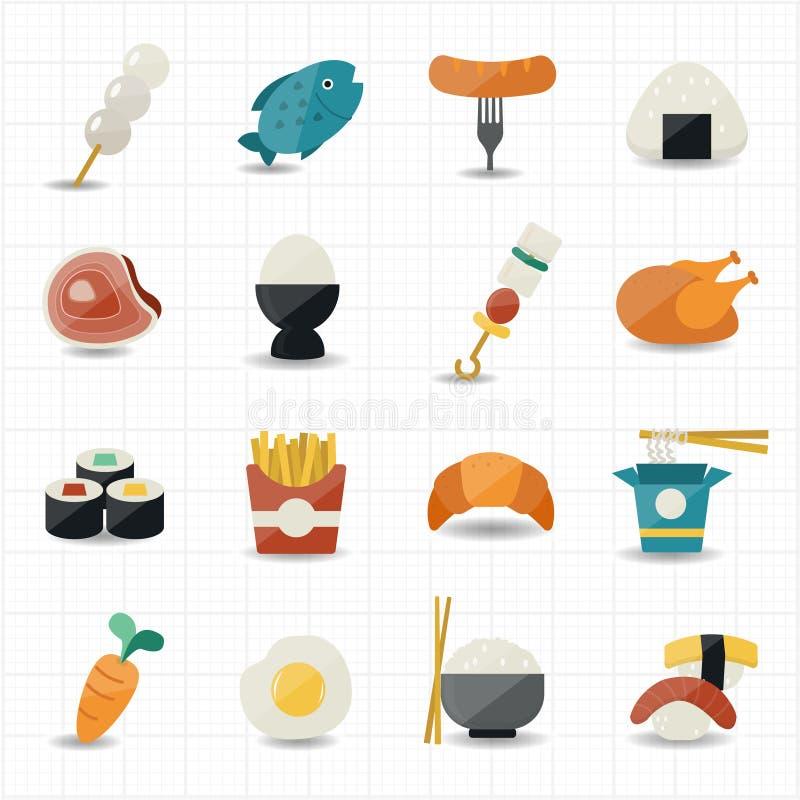 Iconos del alimento fijados ilustración del vector
