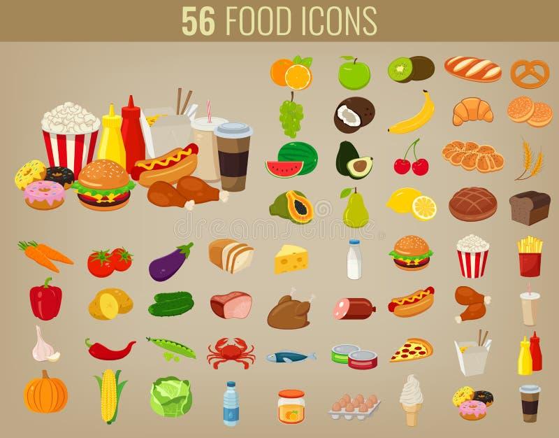 Iconos del alimento fijados Iconos de las frutas y verdura Iconos de los alimentos de preparación rápida Diseño plano moderno Vec ilustración del vector