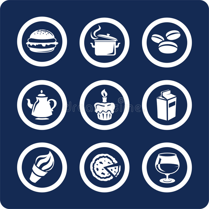 Iconos del alimento y de la cocina (fije 9, parte 1) stock de ilustración