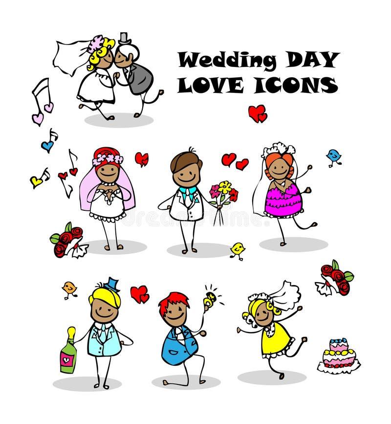Iconos del amor de la boda fijados stock de ilustración